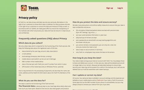 Screenshot of Privacy Page toshl.com - Privacy policy | Toshl Finance - captured Sept. 24, 2014