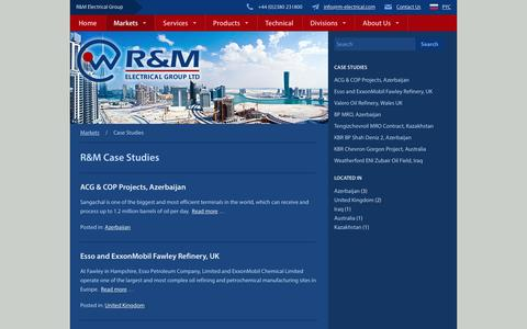 Screenshot of Case Studies Page rm-electrical.com - Case Studies Archive - R&M Electrical Group - captured Oct. 2, 2018