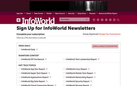 Screenshot of Signup Page infoworld.com - Newsletters | InfoWorld - captured Nov. 18, 2015