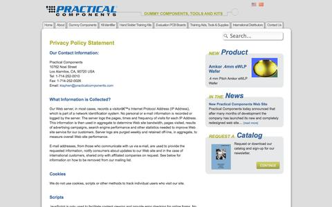 Screenshot of Privacy Page practicalcomponents.com - Practical Components Privacy Policy - captured Sept. 30, 2014