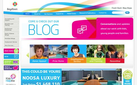 Screenshot of Home Page boystown.com.au - BoysTown - Fresh start. New hope. - captured Sept. 24, 2014