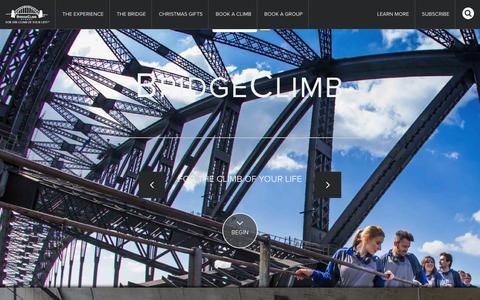Screenshot of Home Page bridgeclimb.com - BridgeClimb Sydney - For The Climb of Your LifeBridge Climb Sydney - captured Jan. 7, 2016