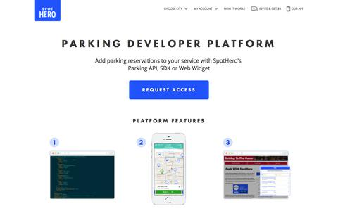 Screenshot of Developers Page spothero.com - SpotHero Parking Developer Platform: Parking API, SDK & Widget - captured Feb. 16, 2017