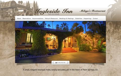 Screenshot of Home Page inglesideinn.com - Ingleside Inn - A small, elegant boutique hotel, totally secluded, yet in the heart of Palm Springs, CA. - captured Oct. 10, 2015