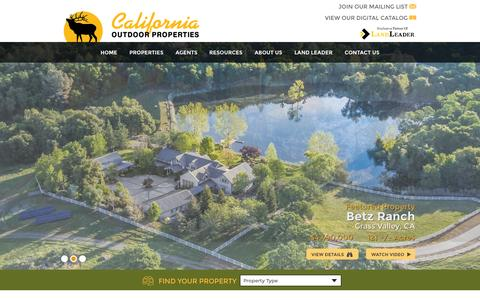 Screenshot of Home Page californiaoutdoorproperties.com - California Ranches Sale Hunting Cattle AG CA Ranch Land For Sale - captured July 17, 2015