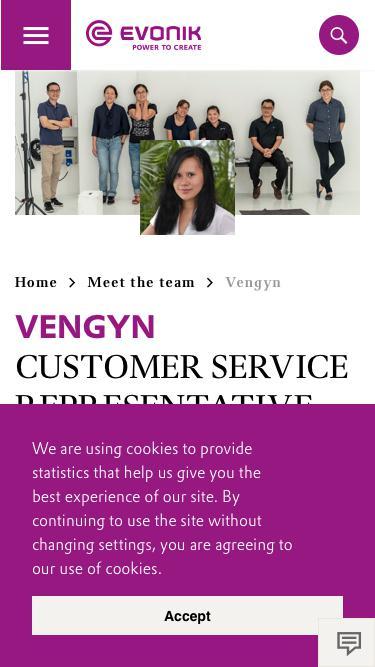 Screenshot of Team Page  evonik.com - Vengyn                                                                - Evonik Careers