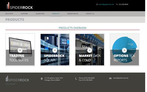 Screenshot of Products Page spiderrock.net - products - captured Oct. 6, 2014