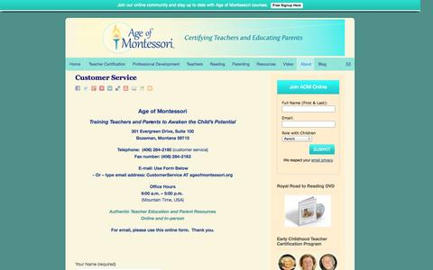 Screenshot of Support Page ageofmontessori.org - Customer Service | - captured Sept. 30, 2014