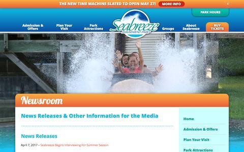 Screenshot of Press Page seabreeze.com - Newsroom   Seabreeze - captured May 28, 2017