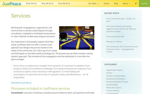 Screenshot of Services Page justpeaceumc.org - Services | JustPeace UMC - captured Nov. 3, 2014