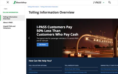 Screenshot of Support Page illinoistollway.com - Tolling Information Overview - Illinois Tollway - captured Nov. 18, 2016