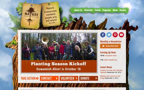 Screenshot of Home Page naturec.org - Nature Consortium - Connecting people, arts, and nature. - captured Oct. 7, 2014