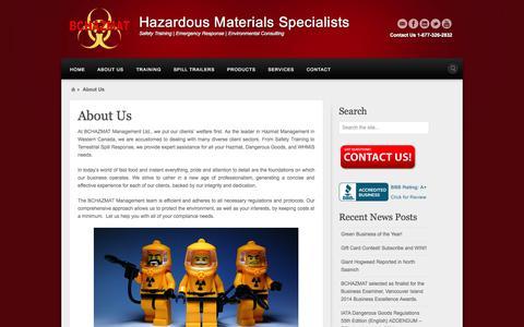 Screenshot of About Page bchazmat.com - About BCHAZMAT Management Ltd. - captured Oct. 27, 2014