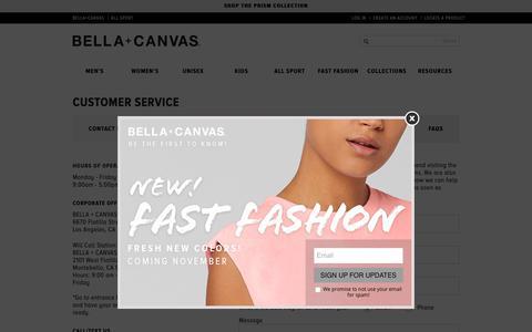 Screenshot of Contact Page FAQ Page Support Page bellacanvas.com - Customer Service   Bella Canvas - captured Nov. 13, 2018