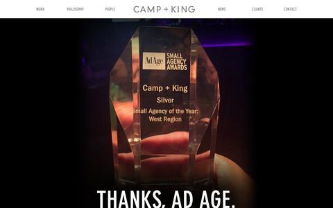 Screenshot of Home Page camp-king.com - Camp + King - captured Dec. 7, 2015