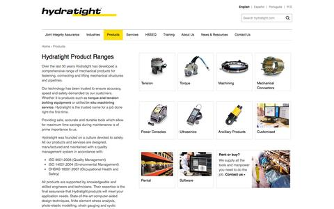 Screenshot of Products Page hydratight.com - Hydratight Product Ranges | English | Hydratight - captured Oct. 28, 2014