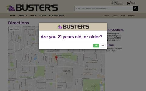 Screenshot of Maps & Directions Page bustersliquors.com - Buster's Liquors & Wines - captured Nov. 23, 2016