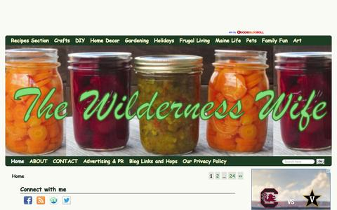 Screenshot of Home Page wildernesswife.com - The Wilderness Wife - Cooking, crafting & gardening in the North Maine Woods - - captured Sept. 22, 2014