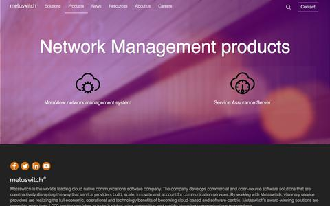 Screenshot of Team Page metaswitch.com - Network Management products - captured June 10, 2017