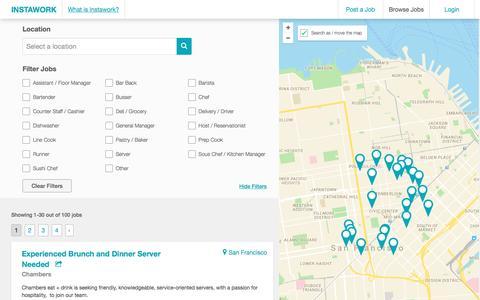 Screenshot of Jobs Page instawork.com - Restaurant and retail jobs   Instawork.com - captured July 2, 2016