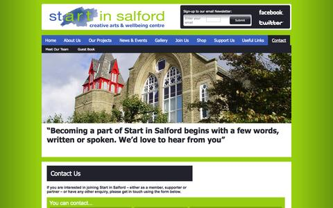 Screenshot of Contact Page startinsalford.org.uk - Contact | Start in Salford creative arts & wellbeing centre - captured Sept. 30, 2014