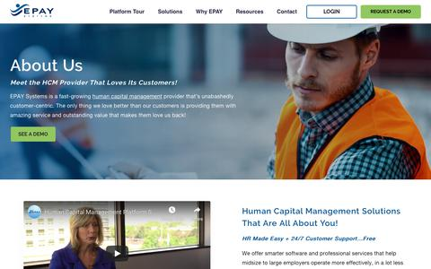 Screenshot of About Page epaysystems.com - EPAY Systems for Human Capital Management Solutions - captured Oct. 10, 2019