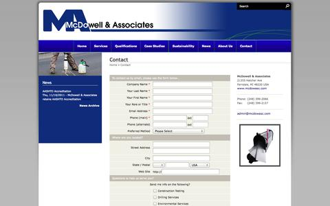 Screenshot of Contact Page mcdowellandassociates.com - Contact - McDowell & Associates - captured Oct. 10, 2014