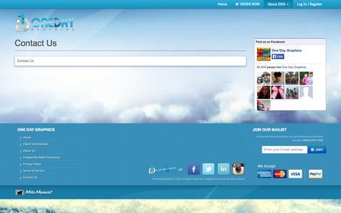 Screenshot of Contact Page onedaygraphics.com - Contact Us - Design and Marketing - captured Oct. 9, 2014