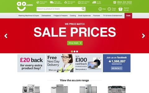 Screenshot of Home Page ao.com - ao.com – Washing Machines, Freezers, Cookers, TVs & more appliances online - captured Sept. 22, 2014
