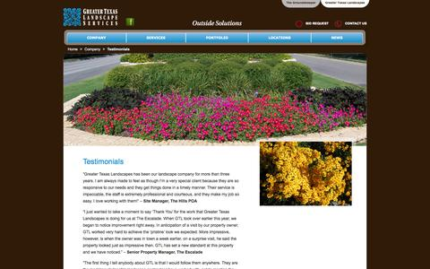 Screenshot of Testimonials Page gtlandscapes.com - Testimonials » Greater Texas Landscapes - captured Oct. 3, 2014