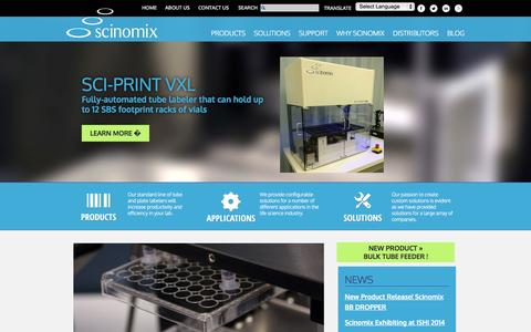 Screenshot of Home Page scinomix.com - Home | Scinomix - captured Sept. 30, 2014