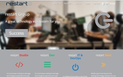 Screenshot of Home Page restartgroup.co - restart   Technology In Your Favor - captured Feb. 26, 2016