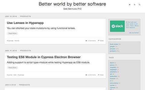 Screenshot of Blog glebbahmutov.com - Better world by better software - captured Feb. 8, 2018