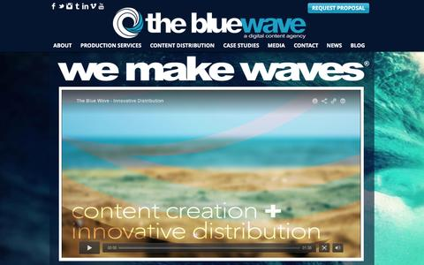Screenshot of Home Page thebluewave.net - The Blue Wave | A Digital Content Agency - captured Feb. 17, 2016