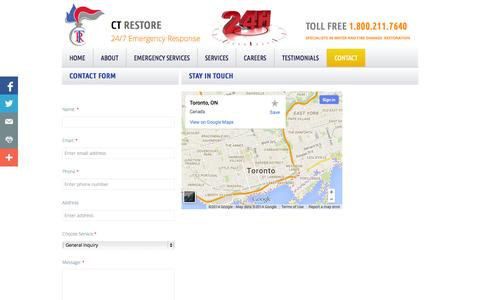 Screenshot of Privacy Page Contact Page ctrestore.ca - Contact - captured Oct. 22, 2014