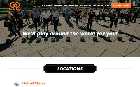 Screenshot of Locations Page thegogame.com - Locations for The Go Game - World Leader in Team Building - captured Sept. 24, 2018