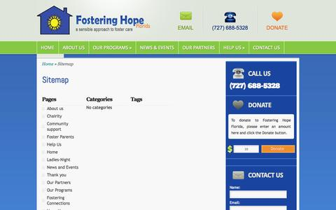 Screenshot of Site Map Page fosteringhopeflorida.org - Sitemap | Fostering Hope Florida - captured Oct. 6, 2014