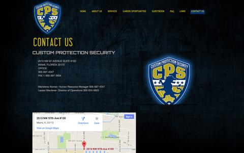 Screenshot of Contact Page customprotectionsecurity.com - Custom Protection Services - captured Sept. 30, 2014