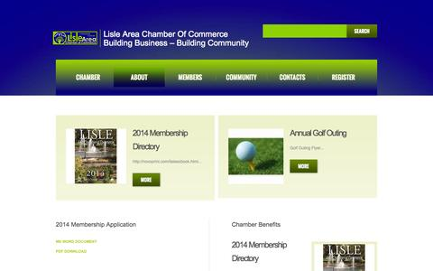 Screenshot of About Page lislechamber.com - About  |  Lisle Area Chamber of Commerce - captured Oct. 2, 2014