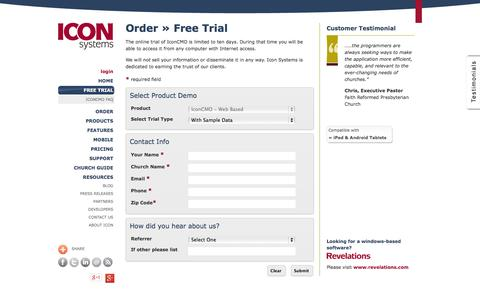 Screenshot of Trial Page iconcmo.com - Church Management Software by Icon Systems :: Request a Free Trial - captured Oct. 10, 2014