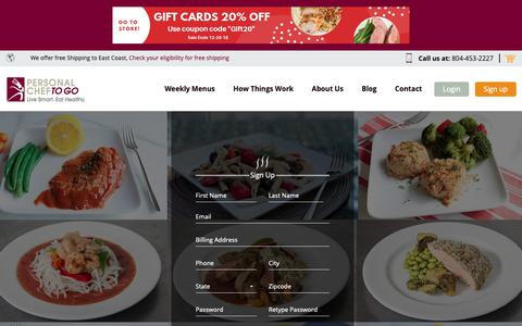Screenshot of Signup Page personalcheftogo.com - My Account - Choose Your Ready-Made Meals For Delivery | Personal Chef To Go - captured Dec. 12, 2018