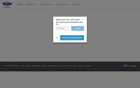 Screenshot of Landing Page ford.com - 2016 Ford Escape - Search Inventory - captured Aug. 17, 2016