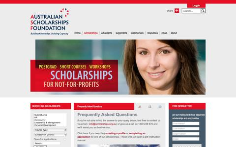 Screenshot of FAQ Page scholarships.org.au - Australian Scholarships Foundation - Frequently Asked Questions - captured Feb. 6, 2016