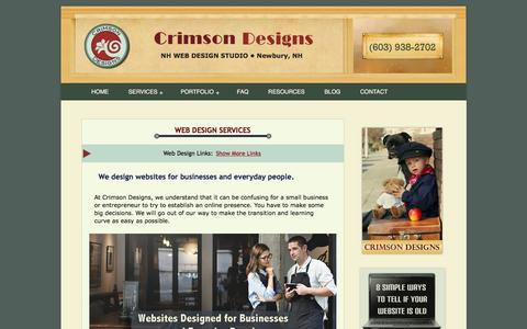 Screenshot of Services Page crimsondesigns.com - NH Small Business Web Design Services :: Crimson Designs - captured July 17, 2016