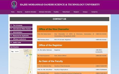 Screenshot of Contact Page hstu.ac.bd - Home | Hajee Mohammad Danesh Science & Technology University (HSTU) - captured June 17, 2016