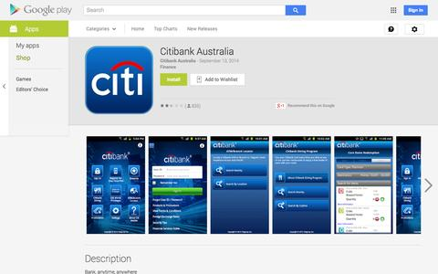 Screenshot of Android App Page google.com - Citibank Australia - Android Apps on Google Play - captured Nov. 1, 2014
