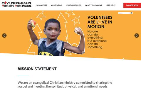 Screenshot of Home Page cityunionmission.org captured July 18, 2018