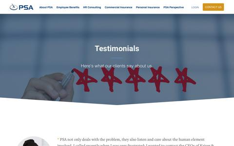 Screenshot of Testimonials Page psafinancial.com - Testimonials - PSA Insurance and Financial Services - captured July 11, 2019