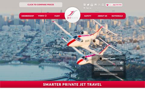 Screenshot of Home Page jetsuite.com - JetSuite | Private Jet Charter Flights Đ Private Jet Rental Service - captured Jan. 14, 2016