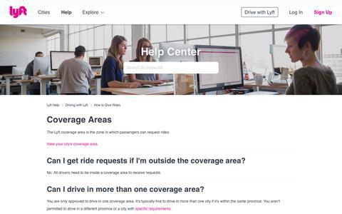 Screenshot of Support Page lyft.com - Coverage Areas – Lyft Help - captured Nov. 29, 2018